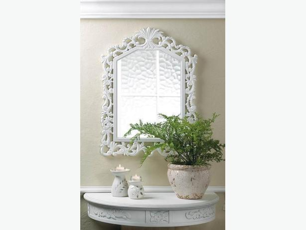 White Wood Arched Wall Mirror with Fleur-De-Lis Detailing Brand New