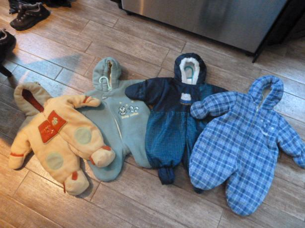 Babies Gender neutral hooded one piece snow suits