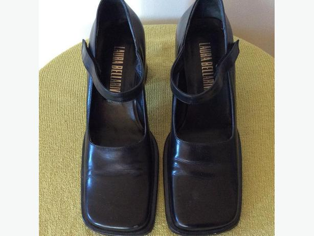 SIZE 7 LADIES SHOES - LAURA BELLARIVA -  ITALY -  STACKED CHUNKY HEEL