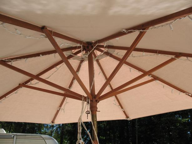 glass patio table and large umbrella