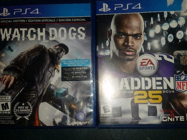 ps4 games brd new never been used Watchdogs and Madden 25