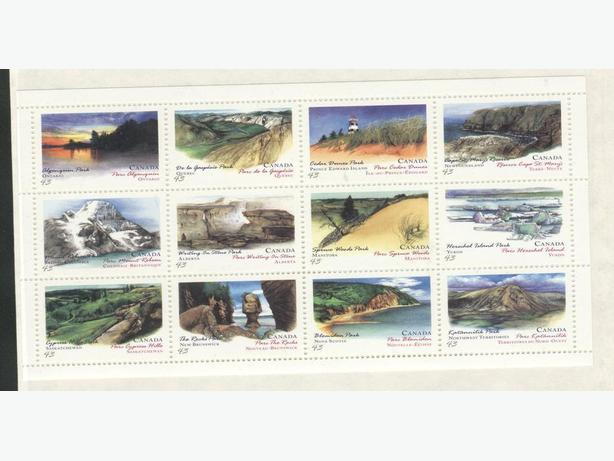 1993 souvenir Sheet Stamps Canadian National Parks