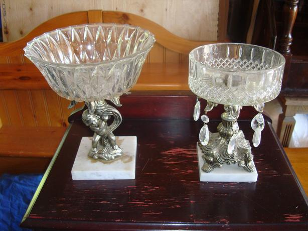 2 Decorative candy dishes with glass bowls - $50 for both