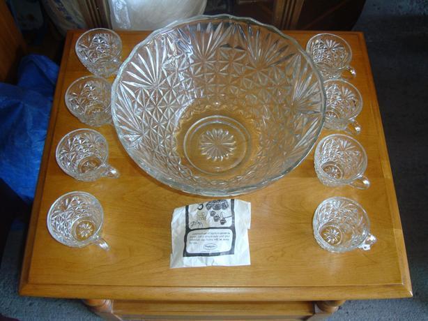 Brand New Glass Punch Bowl Set - $20