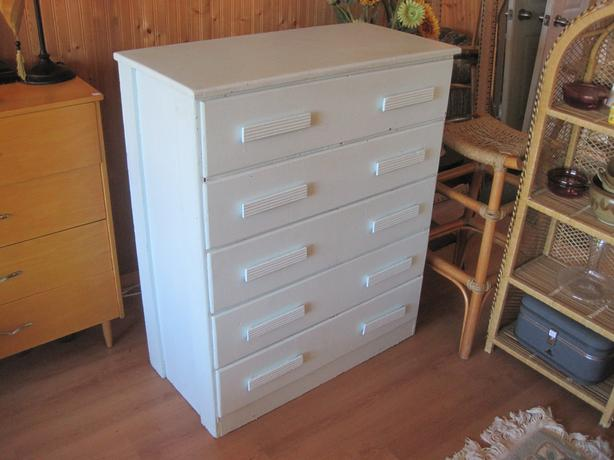 Vintage Tall Painted Solid Cedar 5 Drawer Dresser