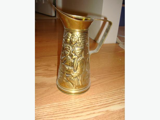 Like New Metal Vase Brass Holder Decanter - $10