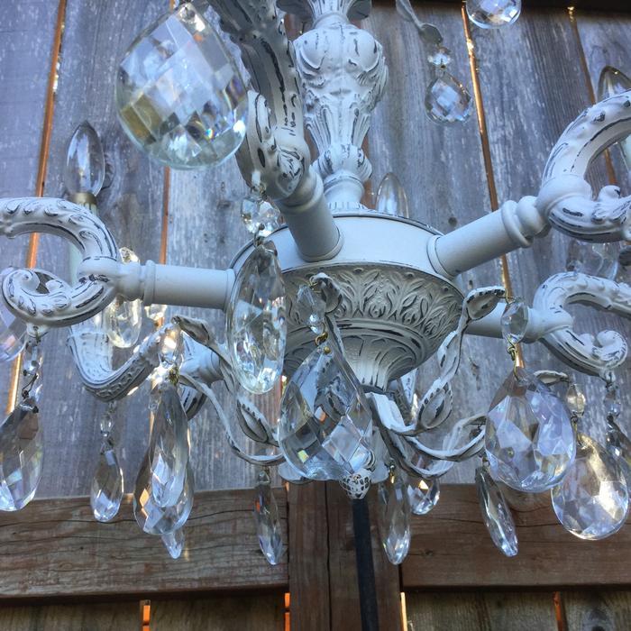 Antique 1920 S Cast Metal 6 Light Chandelier Light Fixture