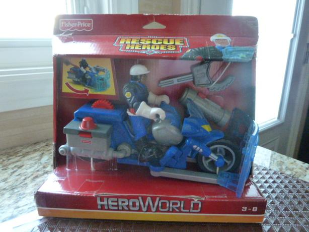 NEW Fisher Price Hero Rescue Heroes Jake Justice Motorcycle
