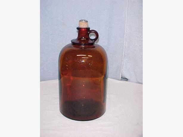 Antique Brown Glass Wine Jug with Cork Stopper