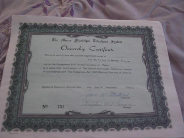 Paper Moore Telephone 1965 Certificate