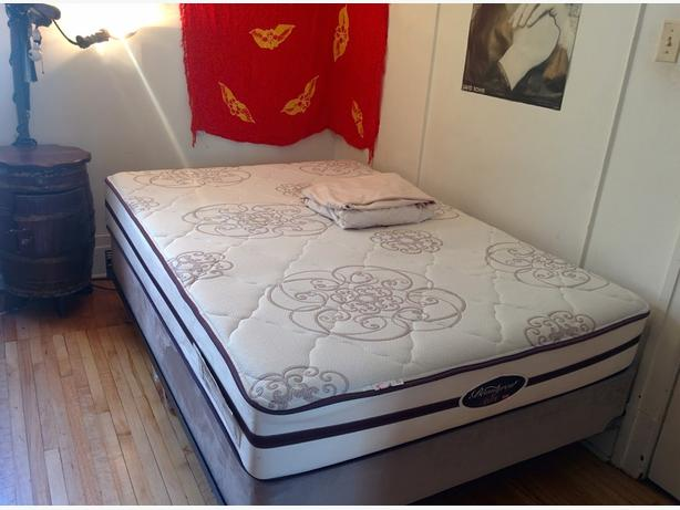 Double bed mattress with base and protector