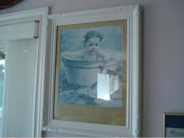 Antique Art :   Baby in wash Tub, with Puppy