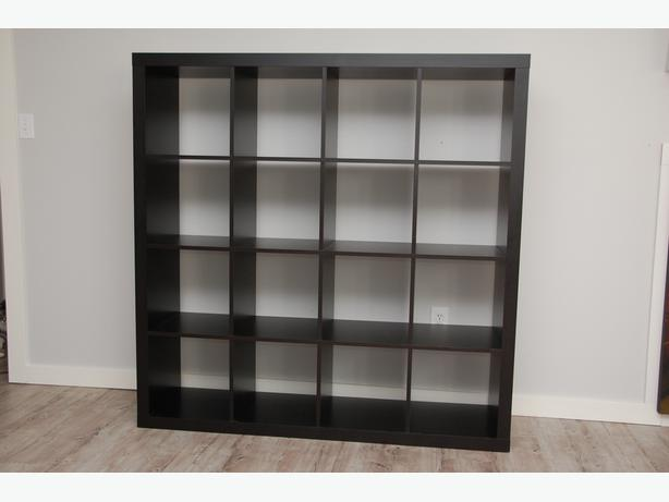 ikea expedit shelving unit black brown 4x4 jeah saanich victoria. Black Bedroom Furniture Sets. Home Design Ideas
