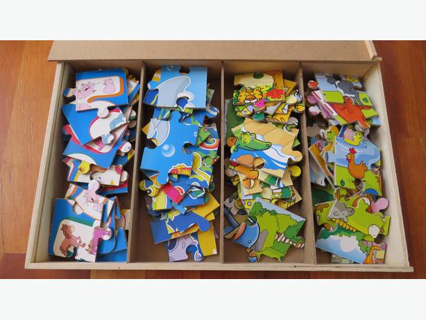 Animal Puzzles x 4 in wooden box