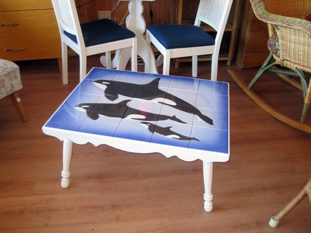 Fabulous Killer Whale Orca Art Tile Top Coffee Table