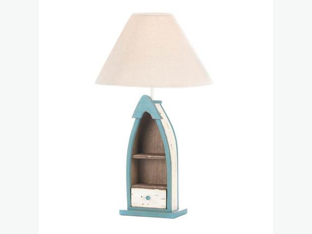 Cute Fishing Boat Table Lamp with Small Shelf & Drawer Brand New