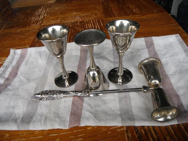 4 pce. silver plate bar set