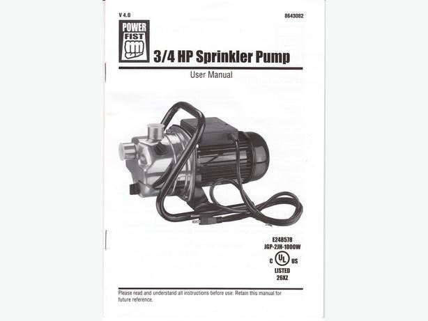 3/4 HPirrigation pump