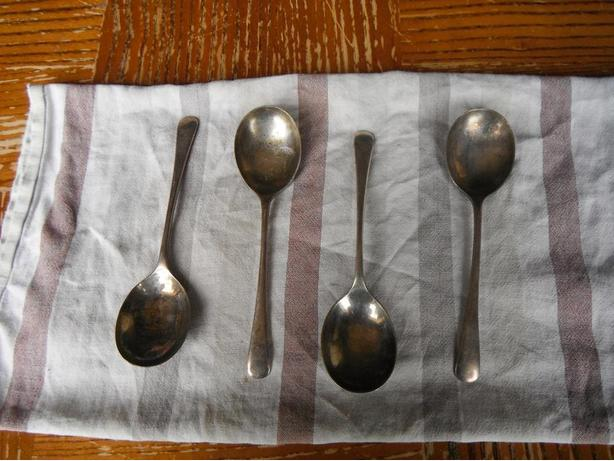 set of 4 silver soup spoons
