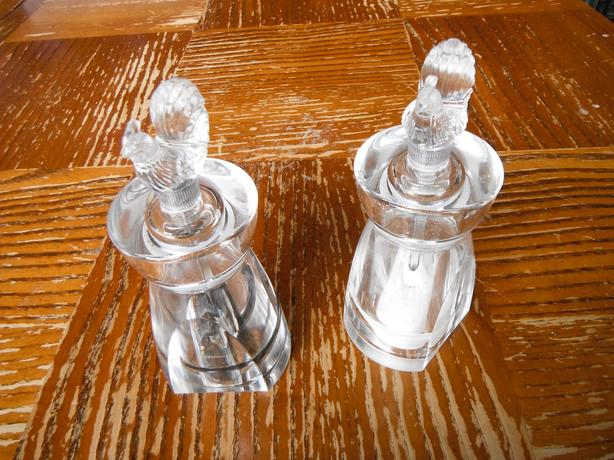 set of 2 chicken glass salt & pepper grinders