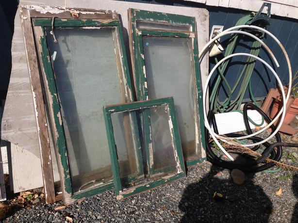 5 Antique wooden windows