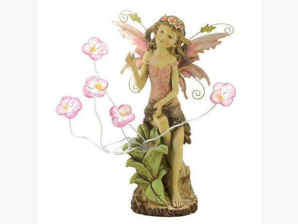 Fairy Statue Yard Ornament With Blooming Flower Accents New Solar