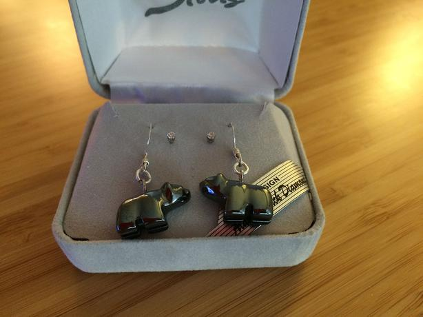 Hematite Grizzly Bear Earrings with 2nd Pair Clear Crystal Studs