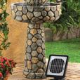Faux Cobblestone Wishing Well Solar Water Fountain With Electric Adapter New