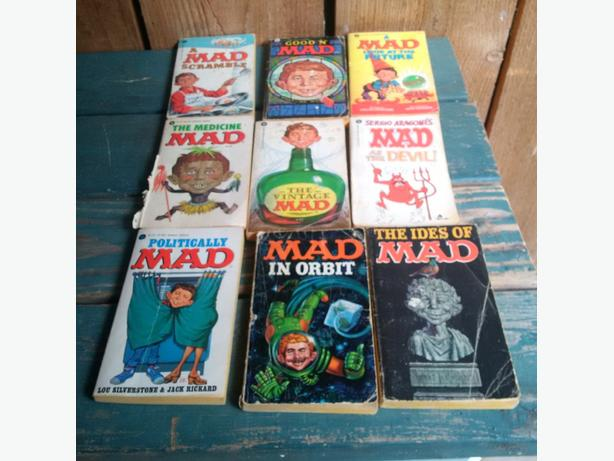 9 vintage Mad paperback books by