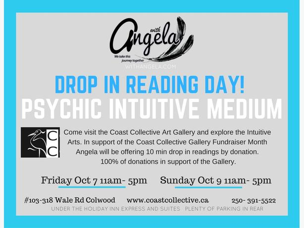 Coming to Victoria the long weekend? Drop in Reading- with Angela -Fundraiser