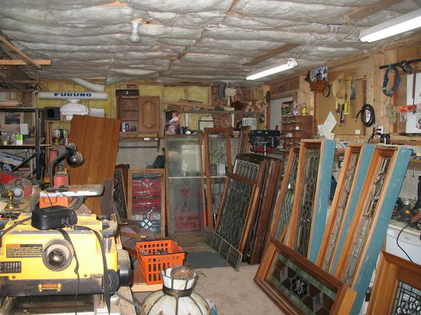Large selection of antique windows, doors, etc