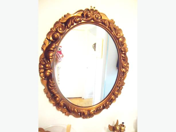 Large Oval Windsor Mirror with Ornate Baroque Style Gold Frame