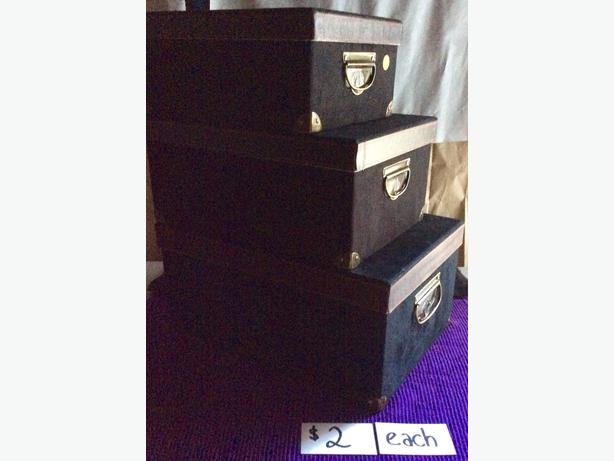 Black ultra-suede storage boxes