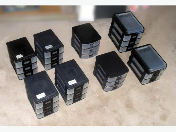 3 Similar Sets of Like-New Small Plastic Drawer Boxes (8 boxes)