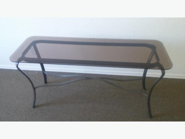 BEAUTIFUL BEHIND COUCH BLACK METAL AND TEMPERED BEVELED SMOKED GLASS