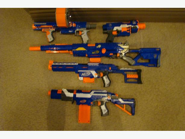 Nerf Guns! Many, Many, did I say MANY Nerf Guns!
