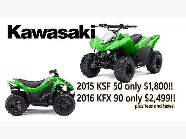 Kawasaki 2015 KSF50 and 2016 KFX90 CLEARANCE!!