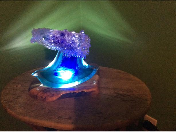 Glass wave and stand made in Maui