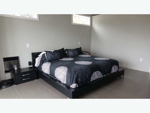 Modern Black Platform King Bed Frame With Slatted