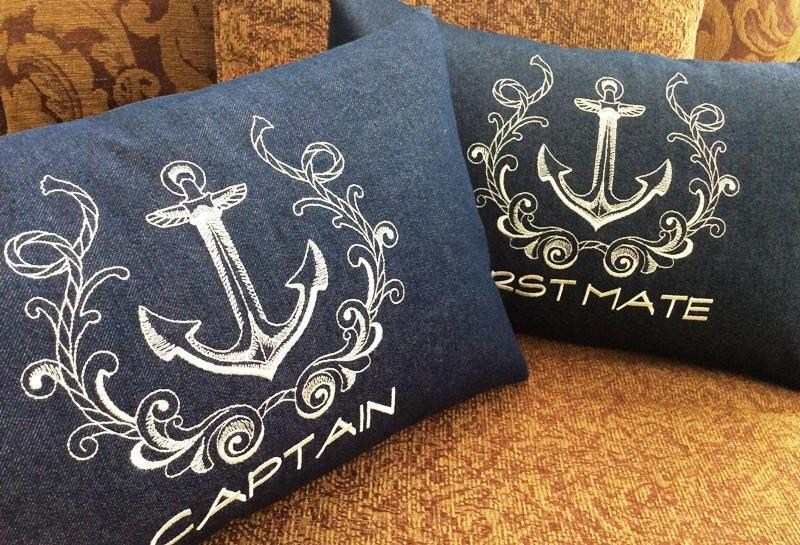 Captain First Mate Wedding Gift Nautical Anniversary Boat Yacht Embroidery Outside Victoria