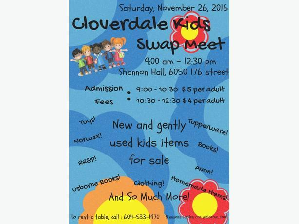 Kids Swap meet Cloverdale Fairgrounds November 26