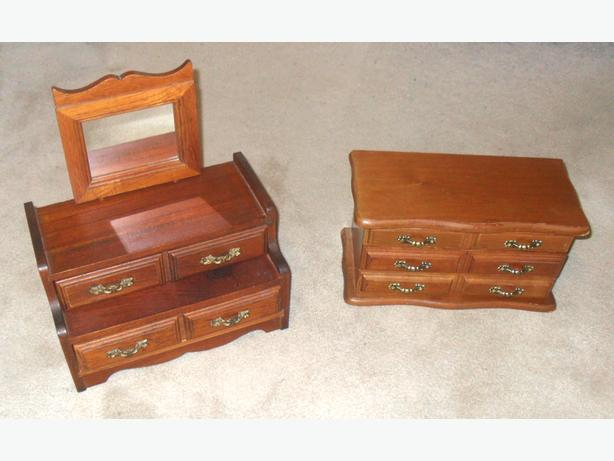 2 Good Condition Small Real-Wood Jewelry Boxes