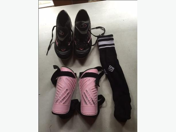 Girls Soccer cleats, pads and socks (size 2)