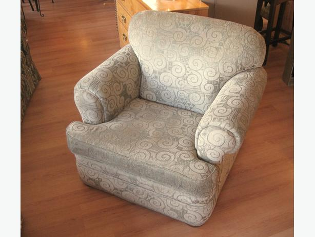 Olive Beige Patterned Chair made in Canada