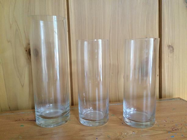 SET OF 3 Straight Glass Vases