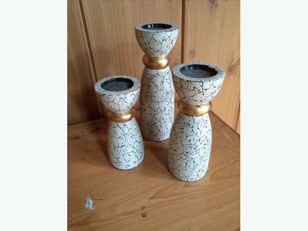 SET OF 3 Mosaic Candle Sticks