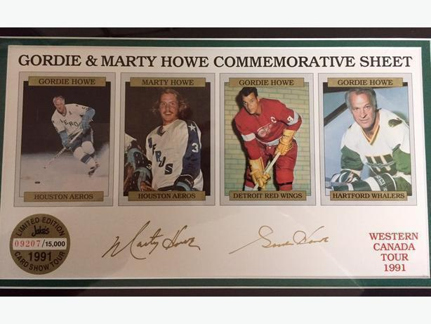Gordie and Marty Howe rare signed 1991 commemorative sheet #09207/15,000