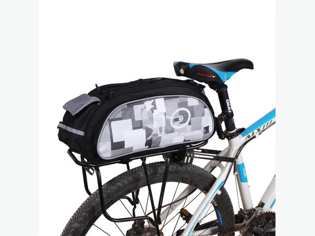 Bicycle Bike Rear Rack Top Bag with Rain Cover 10L - Black/Grey