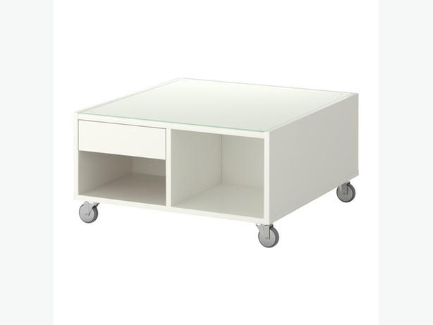 Ikea boksel coffee table white oak bay victoria for White coffee table with wheels