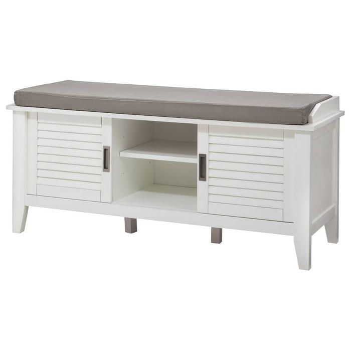 Mudroom Storage Ottawa : White storage bench with slatted doors dining or